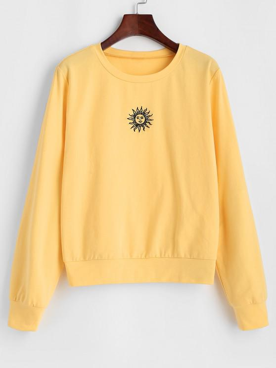 ZAFUL Sun Embroidered Loose Pullover Sweatshirt - صن اصفر S