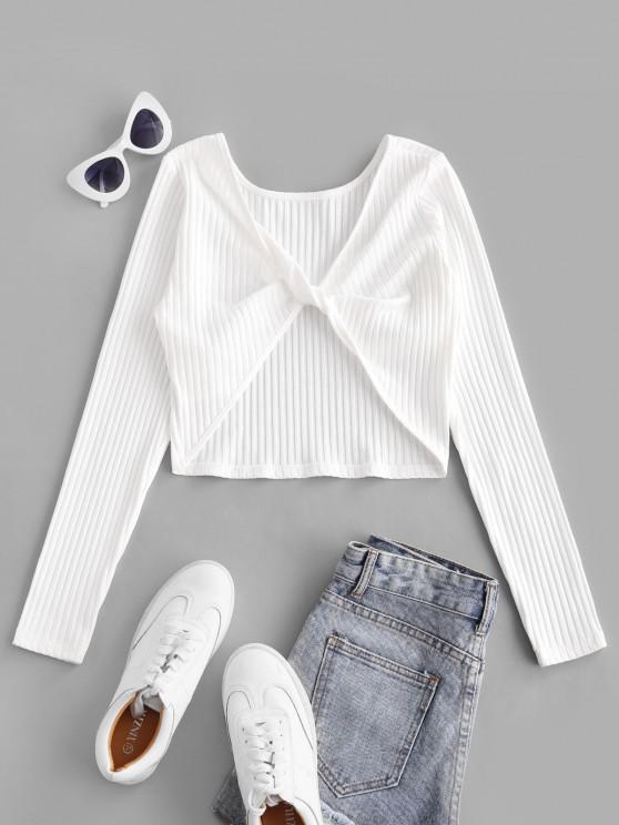 latest ZAFUL Twist Rib-Knit Crop Tee - WHITE L
