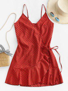 Polka Dot Spaghetti Strap Wrap Dress - Cherry Red Xs