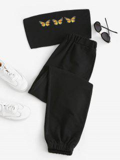 Butterfly Bandeau Top And Jogger Pants Set - Black M