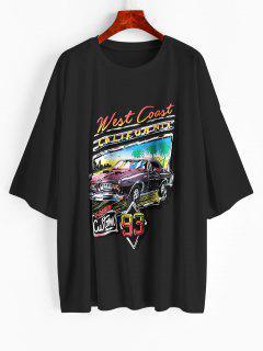 Letter Car Print Oversized Longline T-shirt - Black L