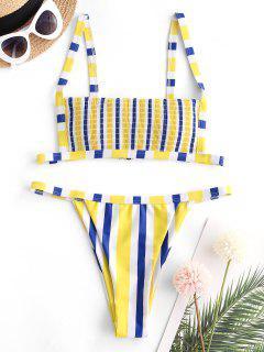 ZAFUL Striped Smocked Tanga Bikini Swimwear - Multi S