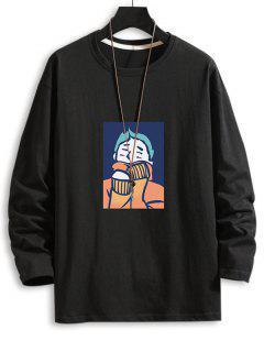 T-shirt GraphiqueDessin AniméGoutte Epaule à Col Rond - Noir 3xl