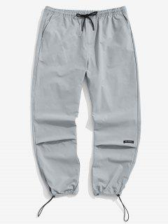 Letter Graphic Print Elastic Waist Pants - Light Gray Xs