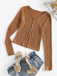 ZAFUL Half Button Ribbed Knit Tee - Brown Sugar S