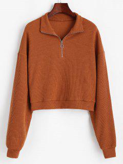 ZAFUL Half Zip Drop Shoulder Rib Knit Sweater - Chocolate S