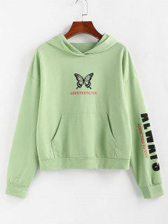 ZAFUL Letter Butterfly Letter Print Graphic Hoodie - Light Green M