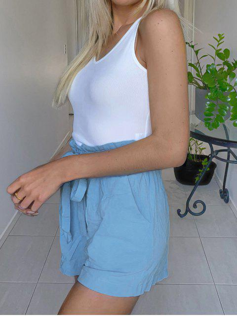 fancy Tie Ribbed Two Piece Set - BLUE S Mobile