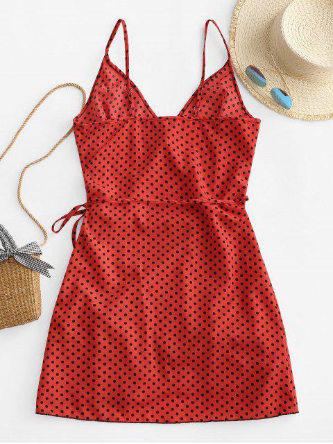 shops Polka Dot Spaghetti Strap Wrap Dress - CHERRY RED XS Mobile