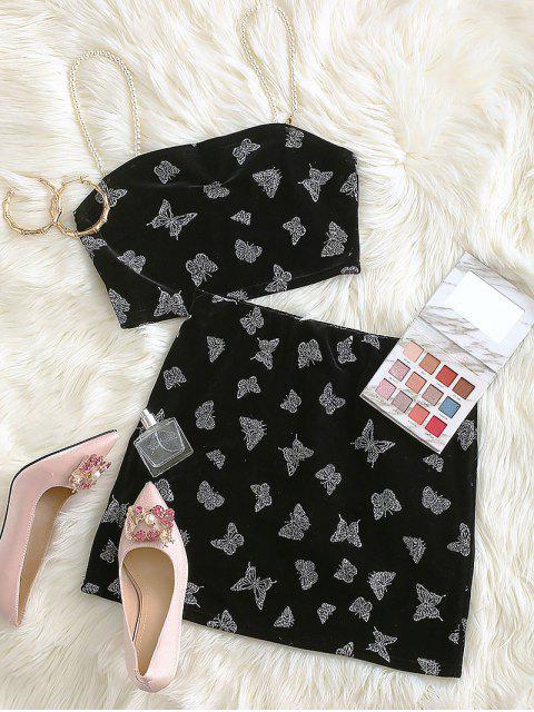 shop Sparkly Butterfly Velvet Faux Pearl Straps Mini Skirt Set - BLACK L Mobile
