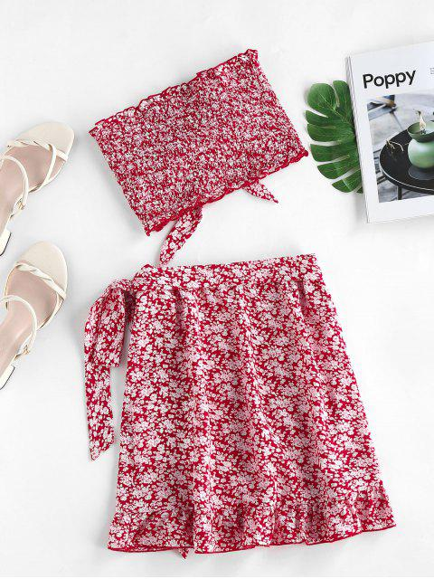 lady ZAFUL Tie Ditsy Print Ruffle Smocked Two Piece Dress - LAVA RED L Mobile