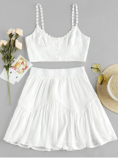 womens ZAFUL Flower Applique Button Up Mini Skirt Set - WHITE S Mobile