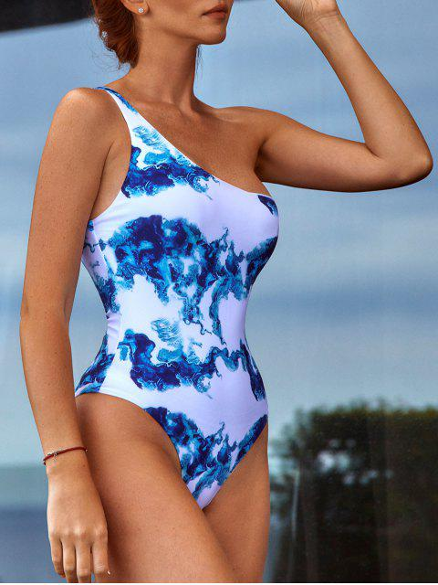 affordable ZAFUL One Shoulder Printed One-piece Swimsuit - BLUEBERRY BLUE M Mobile