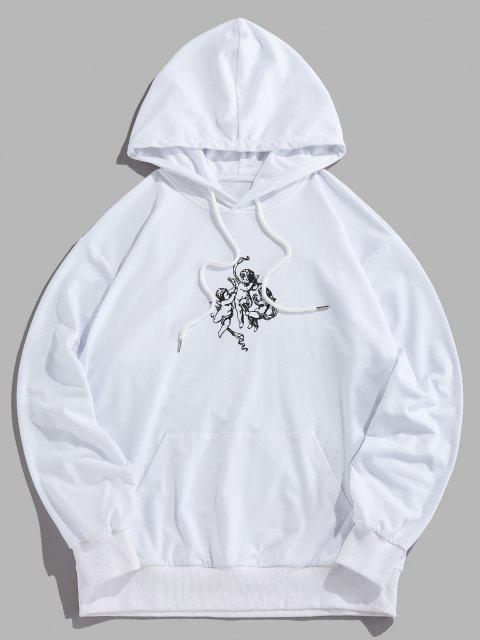 unique Angel Renaissance Print Hoodie - WHITE S Mobile