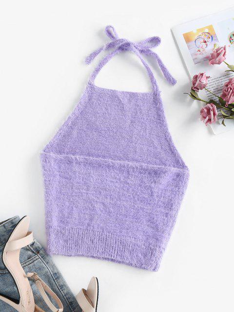 trendy ZAFUL Halter Fuzzy Backless Sleeveless Sweater - LIGHT PURPLE M Mobile