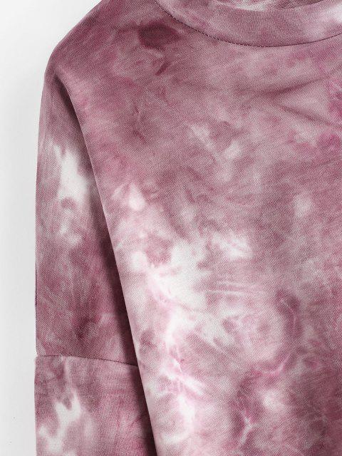 new Tie Dye Drop Shoulder Oversized Sweater Dress - RED M Mobile
