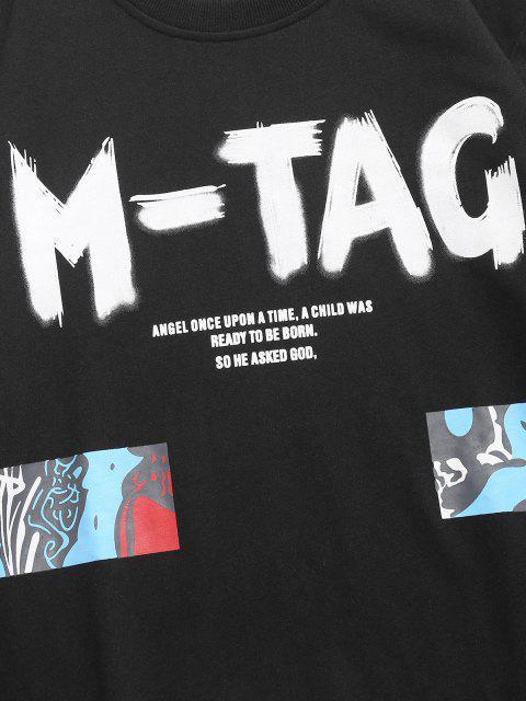 Sweat-shirt Décontracté Motif de Lettre Graphique - Noir XS Mobile