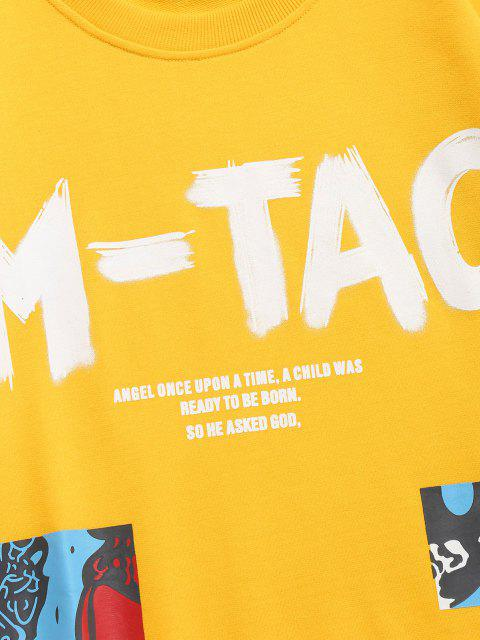 Sweat-shirt Décontracté Motif de Lettre Graphique - Jaune XS Mobile