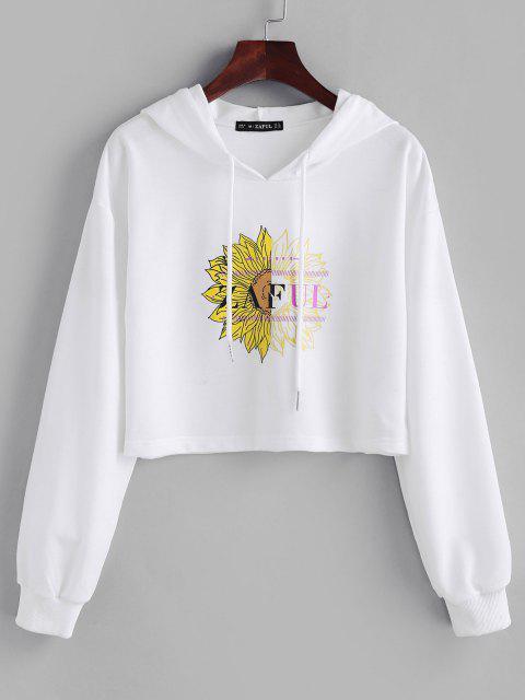 fashion ZAFUL Drawstring Floral Crop Hoodie - WHITE L Mobile