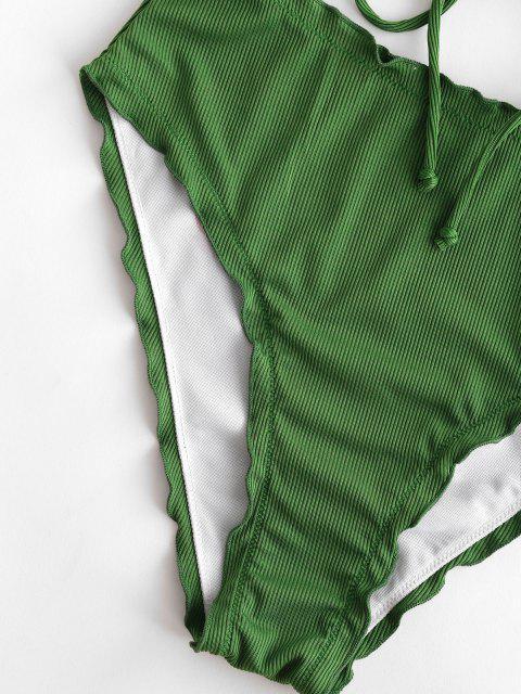 ZAFUL Tankini de Cintura Alta con Cordones Frontales - Verde Oscuro S Mobile