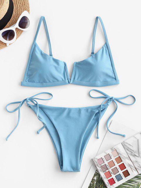 unique ZAFUL V Wired Tie Side String Bikini Swimwear - BLUE M Mobile