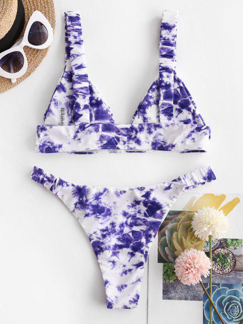 hot ZAFUL Tie Dye Ruched Plunge Bikini Swimwear - LIGHT PURPLE M Mobile