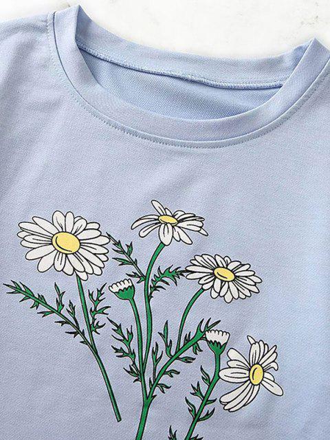 best Flower Print Raw Hem Drop Shoulder Sweatshirt - BLUE GRAY S Mobile