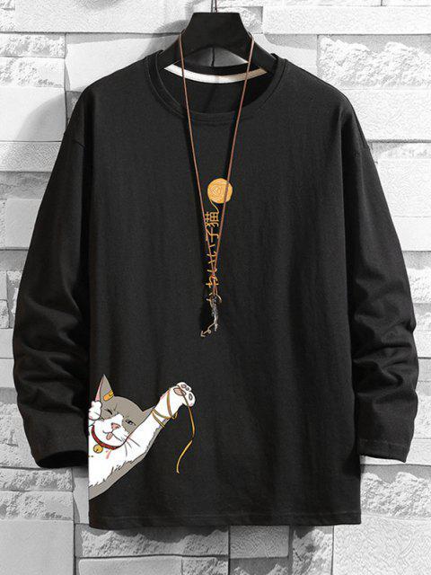 Camiseta com Impressão Gráfica e Gato Básico - Preto 2XL Mobile
