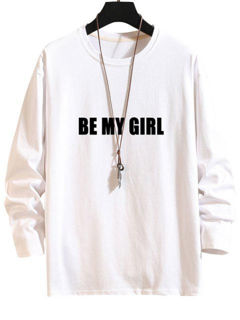 Maglietta a Maniche Lunghe con Stampa Lettere - Bianca 2XL Mobile