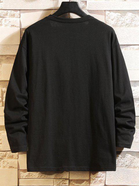fashion Letter Graphic Drop Shoulder Long Sleeve T Shirt - BLACK 2XL Mobile