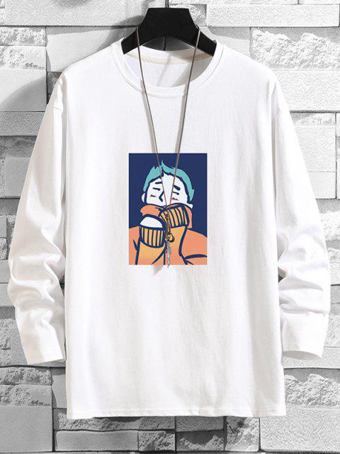outfit Cartoon Graphic Drop Shoulder Crew Neck T Shirt - WHITE 2XL Mobile