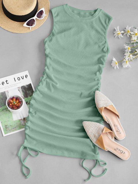 best Ribbed Cinched Side Tank Dress - LIGHT GREEN M Mobile