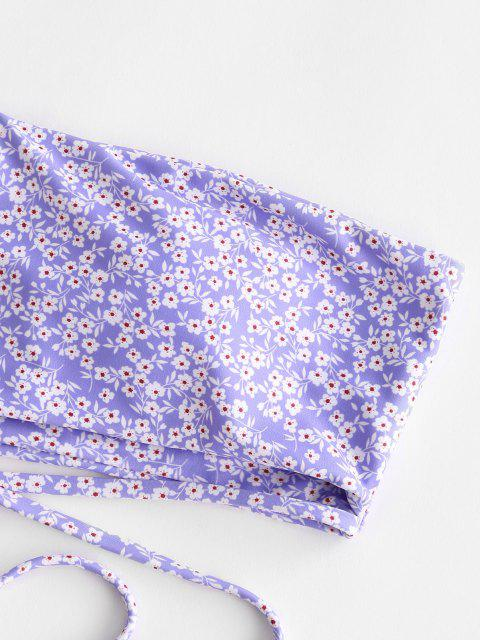 fashion ZAFUL Ditsy Print One Shoulder Wrap Around Bikini Swimwear - LIGHT PURPLE L Mobile
