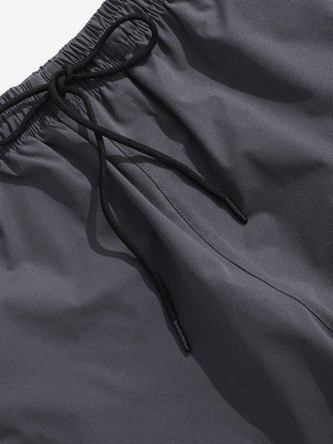 Pantalones Cintura Elástica Estampado Letras - Gris Oscuro L Mobile