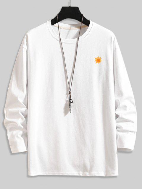 Camiseta Básica con Estampado de Árboles - Blanco L Mobile