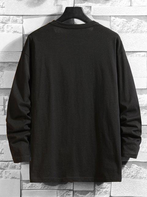 online Daisy Graphic Drop Shoulder Long Sleeve T Shirt - BLACK 2XL Mobile