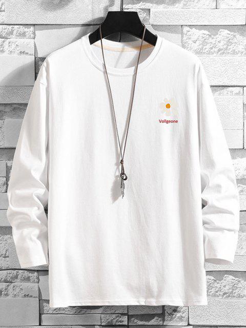 Daisy Graphik Fallschulter Langarm T-Shirt - Weiß 4XL Mobile