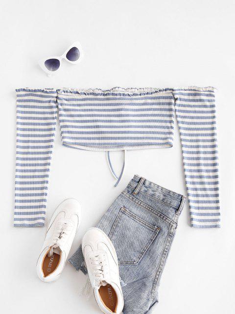 ZAFUL Streifen Schulterfrei Crop T-Shirt - Blaugrau L Mobile