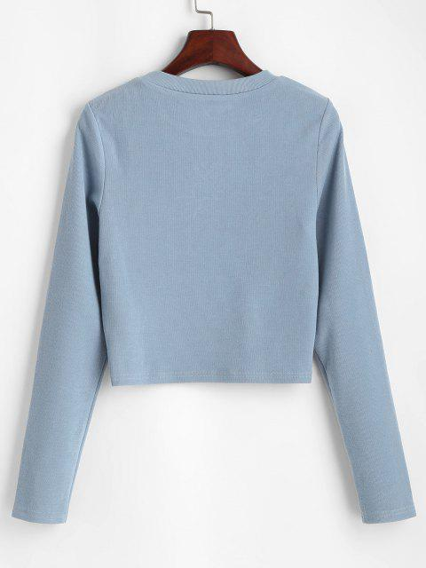 ZAFUL Oriental Sun Embroidered Knitted Crop Sweatshirt - ازرق رمادي L Mobile