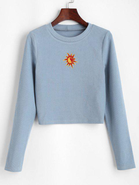 shop ZAFUL Oriental Sun Embroidered Knitted Crop Sweatshirt - BLUE GRAY XL Mobile