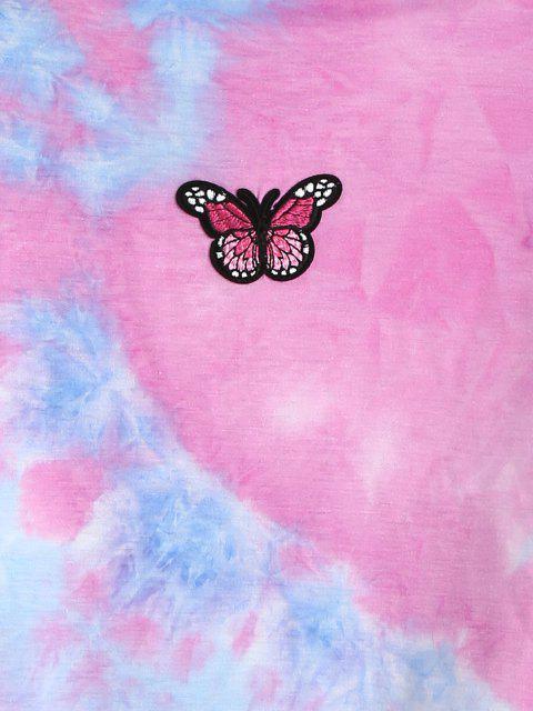 buy ZAFUL Tie Dye Butterfly Embroidery Sweatshirt - MULTI-A L Mobile