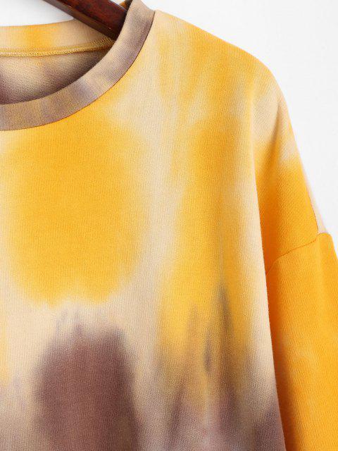 ZAFUL Sudadera de Hombros Caídos con Cintura Elástica y Teñido - Caucho Ducky Amarillo XL Mobile