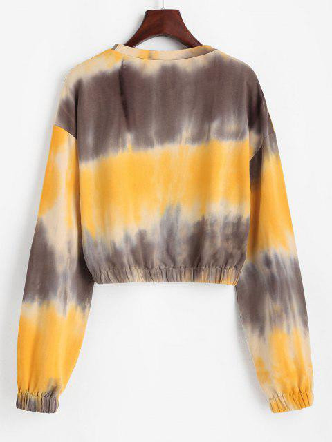 hot ZAFUL Tie Dye Drop Shoulder Elastic Hem Sweatshirt - RUBBER DUCKY YELLOW L Mobile