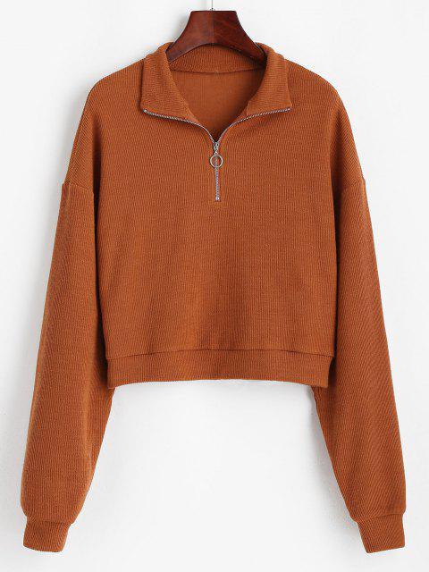 hot ZAFUL Half Zip Drop Shoulder Rib Knit Sweater - CHOCOLATE S Mobile