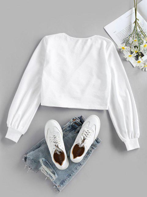 affordable ZAFUL Crossover Crop Knitwear - WHITE L Mobile