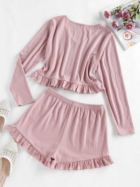shop ZAFUL Ribbed Ruffle V Neck Pajama Shorts Set - LIPSTICK PINK M Mobile
