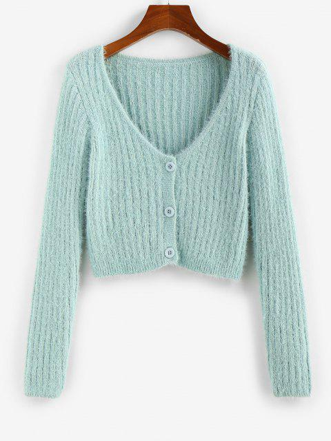 hot ZAFUL Fuzzy Button Up Plunging Cardigan - LIGHT GREEN XL Mobile