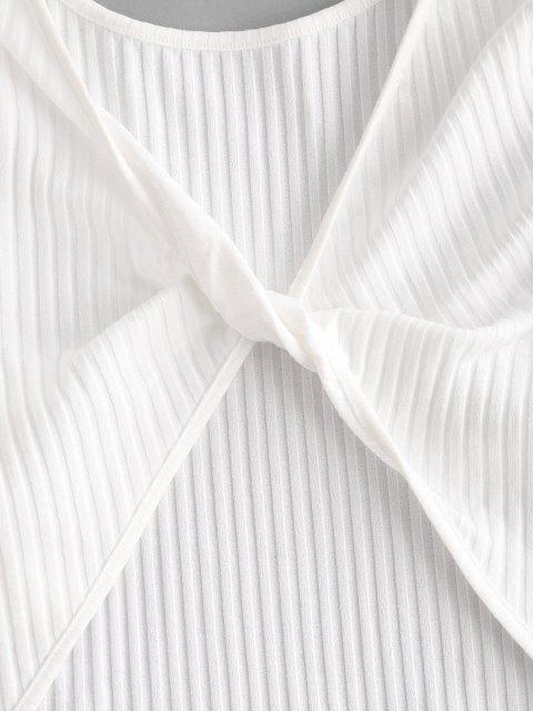 ZAFUL Twist Rippen Knit Crop T-Shirt - Weiß L Mobile