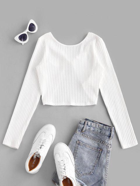 shop ZAFUL Twist Rib-Knit Crop Tee - WHITE M Mobile