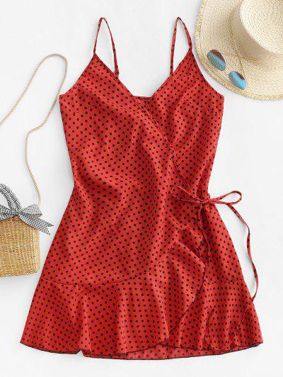 Polka Dot Spaghetti Strap Wrap Dress - Cherry Red M